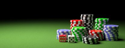 Poker chips piles and dice on green felt, banner, copy space. 3d illustration stock illustration