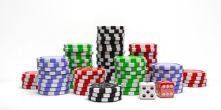 Poker chips piles and dice isolated on white background. 3d illustration. Gambling, casino concept. Poker chips piles and dice isolated on white background stock illustration