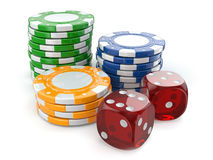 Gambling casino. Dice and chips. Stock Photography