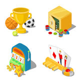 Gambling casino gaming stakes cup trophy flat isometric vector Stock Photos