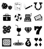 Gambling casino icons set Royalty Free Stock Photography