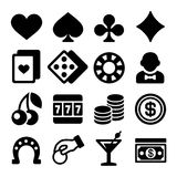 Gambling Casino Icons Set on White Background Stock Images