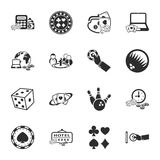 Gambling, casino 16 icons universal set for web and mobile. Flat Royalty Free Illustration