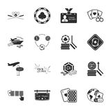 Gambling, casino 16 icons universal set for web and mobile. Flat Stock Illustration