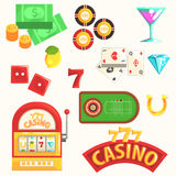Gambling And Casino Night Club Set Of Symbols, Including Cards, Dices , Roulette Table, Chips And Slot Machine Stock Image