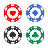 Gambling casino poker chips color set Stock Photography