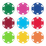 Gambling casino poker chips color set Stock Photos