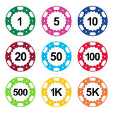 Gambling casino poker chips color set Stock Photo
