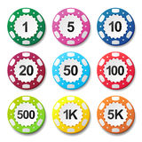 Gambling casino poker chips numbers color sign Royalty Free Stock Images