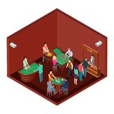 Gambling, casino room with people isometric vector design. Casino isometric, poker and jackpot, interior of room for gamble game illustration stock illustration