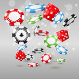 Gambling and casino symbols - poker chips and dice. Gambling and casino symbols - flying poker chips and dice royalty free illustration