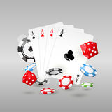 Gambling and casino symbols - poker chips, playing cards Stock Images
