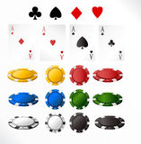Gambling chip and cards. Isolated objects vector illustration