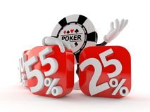 Gambling chip character behind percentage signs. Isolated on white background. 3d illustration vector illustration