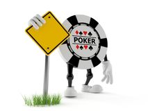 Gambling chip character with blank road sign. Isolated on white background. 3d illustration vector illustration