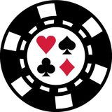 Gambling chip with poker playing cards suits. Vector royalty free illustration