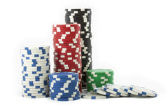 Gambling chips. Isolated on a white background royalty free stock photos