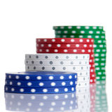 Gambling chips. In a row royalty free stock photos