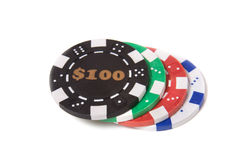 Gambling chips. Isolated on the white background Stock Images