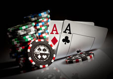 Gambling chips and aces Stock Image