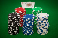 Gambling chips and blackjack Royalty Free Stock Image