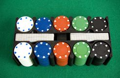 Gambling chips box Stock Image