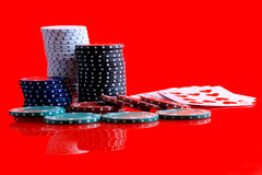 Gambling chips and cards Royalty Free Stock Image