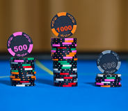 Gambling chips on casino table Stock Photo
