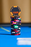 Gambling chips on casino table Stock Images