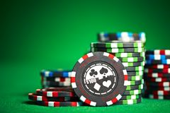 Gambling chips with copy space.  royalty free stock photo