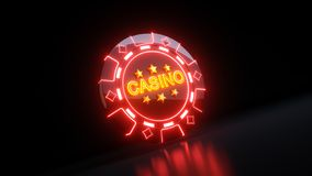 Gambling Chips in Diamonds Symbol Concept With Neon Lights - 3D Illustration stock images