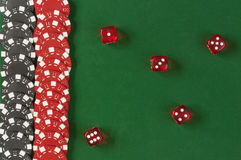 Gambling chips and dice  background Royalty Free Stock Photography