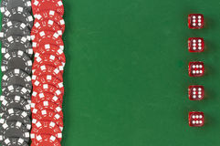 Gambling chips and dice  background Stock Photo