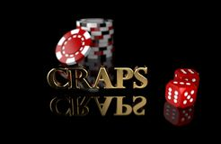 Gambling chips with dice on black background with reflection and the `CRAPS` text vector illustration