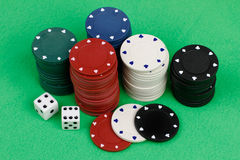 Gambling chips and dice Stock Photos