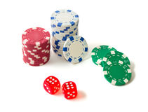 Gambling chips and dices Royalty Free Stock Image