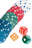Gambling chips and dices Stock Images
