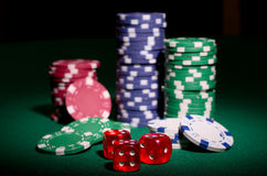 Gambling chips and dices Stock Image