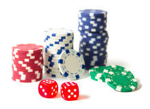 Gambling chips and dices Royalty Free Stock Photos