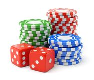 Gambling chips and dices Royalty Free Stock Photo