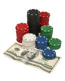 Gambling chips and dollar bills Stock Photos
