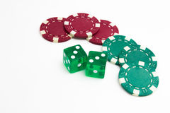 Gambling chips with Drice Stock Photography