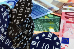 Gambling chips and Euros Stock Photo