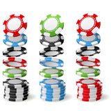 Gambling chips falling to stacks - poker chips Royalty Free Stock Image