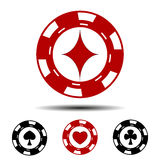 Gambling chips four suits. Hearts, spades, clubs, diamonds Royalty Free Stock Photo