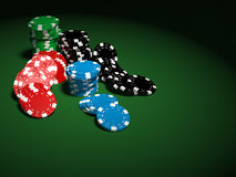 Gambling chips on green background. 3D Render of the gambling chips on green background Stock Photo