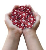 Gambling chips in hands. Image with clipping path royalty free stock photo
