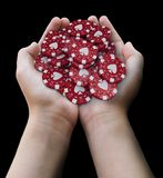 Gambling chips in hands. Image with clipping path stock illustration