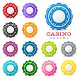 Gambling chips. 13 highly detailed gambling chips over white background stock illustration