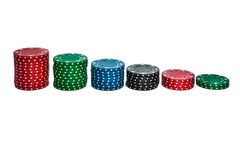 Gambling chips. Isolated stack of gambling chips lined up as chart royalty free stock photos